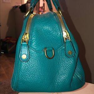 J Crew teal leather handbag